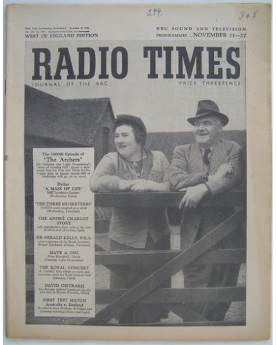 RT 1619 - November 19, 1954 (Nov 21-17) (West of England) THE ARCHERS (Light) The 1000th Episode - with cover photo of Gwen Berryman and Harry Oakes.