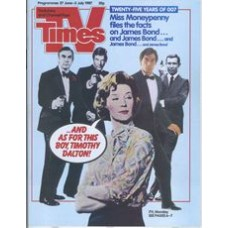 TVT 1987/27 - 27 June-3 July 1987 (TVS and C4) JAMES BOND - LICENCE TO THRILL - Twenty-five years of 007.  Miss Moneypenny with four different James Bond actors - Sean Connery, George Lazenby, Roger Morre, Timothy Dalton.