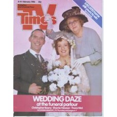 TVT 1986/07 - 8-14 February 1986 (TVS and C4) IN LOVING MEMORY - with cover photo of Christopher Beeny, Sherrie Hewson and Thora Hird. Wedding daze at the funeral parlour