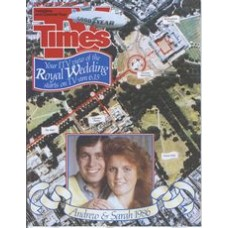 TVT 1986/30 - 19-25 July 1986 (TSW and C4)  THE ROYAL WEDDING - Aerial photo of the procession route with inset photo of Prince Andrew and Sarah Ferguson.