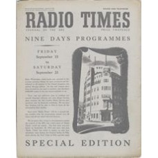 RT 1404 - September 15, 1950 (Sep 17-23) (National Edition - Sound & Television) Special Edition - Nine Days Programmes. With cover drawing (signed LP) of Broadcasting House.