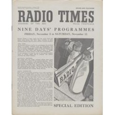 RT 1408 - November 3, 1950 (Nov 5-11) (National edition - Sound & television) Special Edition - Nine Days Programmes. With cover drawing (by Hunter) of a newspaper and bottles of milk on a doorstep, and a blue tit.