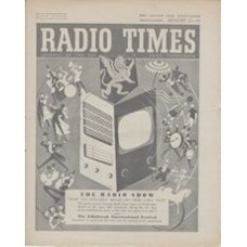 RT 1658 - August 19, 1955 (Aug 21-27) (Northern Ireland) NATIONAL RADIO SHOW 22nd - with cover design (by Victor Reinganum) of a radio/TV set amid a whirl of entertainers.
