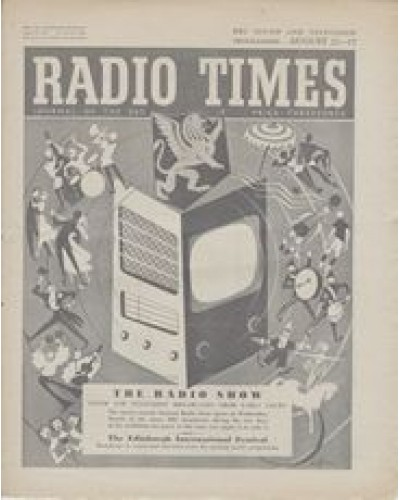 RT 1658 - August 19, 1955 (Aug 21-27) (Wales) NATIONAL RADIO SHOW 22nd - with cover design (by Victor Reinganum) of a radio/TV set amid a whirl of entertainers.