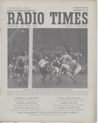 RT 1400 - August 11, 1950 (Aug 13-19) (Northern Ireland) ASSOCIATION FOOTBALL with photo of a match.