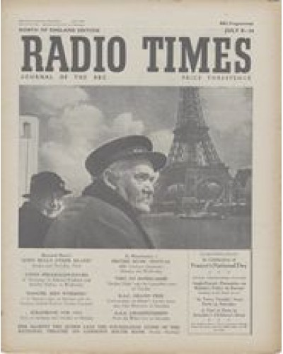 RT 1443 - July 6, 1951 (Jul 8-14) In Celebration of France's National Day. TAKING STOCK / IN TOWN TONIGHT / Paris, 1951 CHILDREN'S HOUR Cover photo of a Paris waterman, Seine, & the Eiffel Tower
