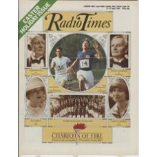 RT 3154 - 21-27 April 1984 EASTER / CHARIOTS OF FIRE (BBC1) Britain's award-winning film. Ben Cross (as Harold Abrahams), Ian Charleson (as Eric Liddell), John Gielgud, Lindsay Anderson, Alice Krige, Cheryl Campbell, The British Olympic Team in 1924.