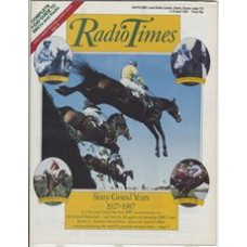 RT 3306 - 4-10 April 1987 THE GRAND NATIONAL - Sixty Grand Years 1927-1987 - with cover photo of horses jumping - plus four inset photos of Spig (1927), Golden Miller (1934), Red Rum (1973, 74, 77), and West Tip (1987)