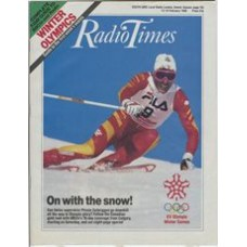 RT 3350 - 13-19 February 1988 XV WINTER OLYMPICS in Canada. Permin Zurbriggen skiing. Guide to the first week's events.