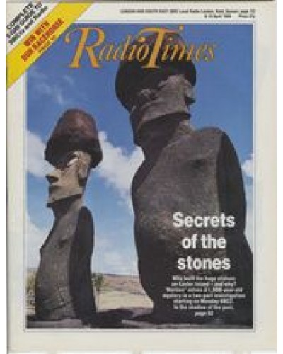 RT 3358 - 9-15 April 1988 HORIZON: EASTER ISLAND (BBC2) with cover photo of two Easter Island statues.