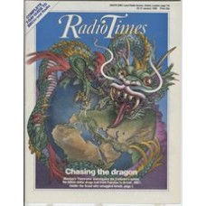 RT 3244 - 25-31 January 1986 (West) CHASING THE DRAGON Cover illustration (by Bill Sanderson) of a ferocious dragon wrapped around plannet Earth.