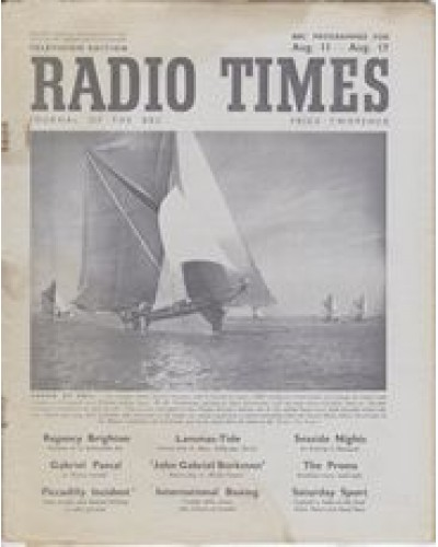 RT 1193 - August 9, 1946 (Aug 11-17) CARGO BY SAIL (Home Service) with cover photo of a sailing barge