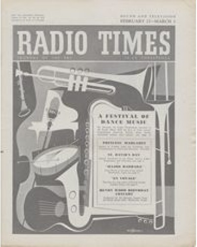 RT 1633 - February 25, 1955 (Feb 27-Mar 5) (West of England) A FESTIVAL OF DANCE MUSIC - with cover drawing (by Victor Reinganum) of musical instruments.