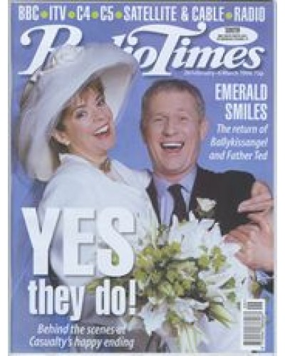 RT 3864 - 28 February-6 March 1998 (North West) CASUALTY (BBC1) Julia Watson and Derek Thompson - as Baz & Charlie getting married.