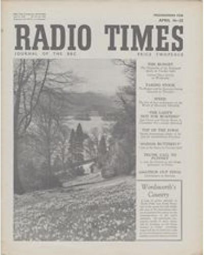 RT 1383 - April 14, 1950 (Apr 16-22) (Television Edition) ROTHHAY REVISITED Wordsworth's Country. Cover photo of a host of golden daffodils near Rydal Waters, Lakeland.