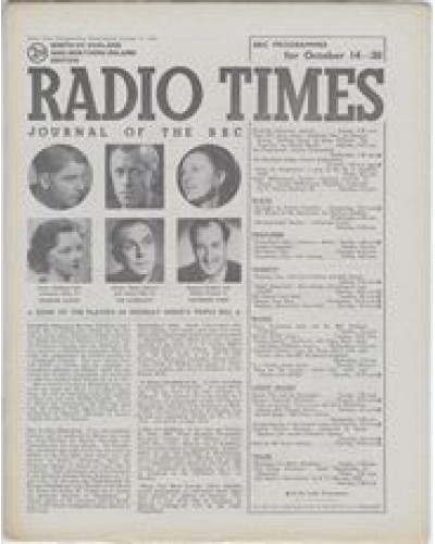 RT 1150 - October 12, 1945 (Oct 14-20) (North of England & N.Ireland) TRIPLE BILL with 6 cover photos: Emlyn Williams & Adrianne Allen THINKING ALOUD - Walter Hudd & James Dale THE OVERCOAT - Barbara Couper & Ralph Truman CATHERINE PARR
