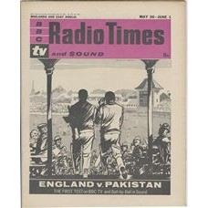 RT 2011 - May 24, 1962 (May 26-Jun 1) (South & West) THE FIRST TEST England v Pakistan.(Television and Sound). Cover drawing (by Jack Dunkley) of two cricketers going out to bat.