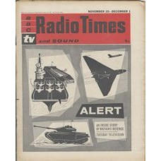 RT 1985 - November 23, 1961 (Nov 25-Dec 1) (London) ALERT An Inside Story of Britain's Defence (TV) with cover illustration (by Victor Reinganum) of aircraft carrier, plane, tank.