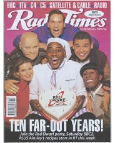 RT 3862 - 14-20 February 1998 (South West) RED DWARF (BBC2) Tenth Anniversary - Ten far-out years! Craig Charles et al / AINSLIE HARRIOTT'S MEALS IN MINUTES (BBC2)