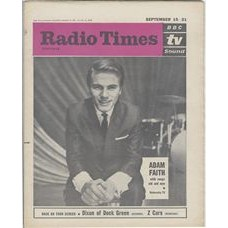 RT 2027 - September 13, 1962 (Sep 15-21) (London) ADAM FAITH (TV) sings songs old and new  with cover photo.