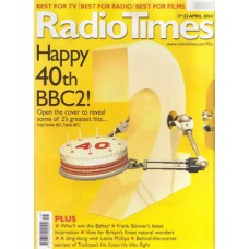 RT 4178 - 17-23 April 2004 (South West) HAPPY BIRTHDAY BBC2 - 40th Anniversary - with gate cover illustration of a robotic 2 holding a birthday cake - and other 2s each holding up a back issue of Radio Times.