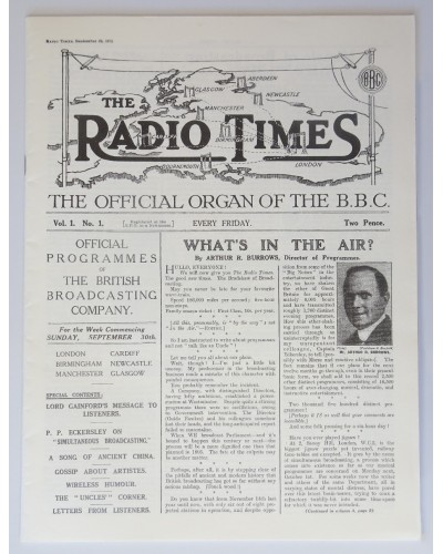 RT 0001 - September 28, 1923 (Sep 30-Oct 6) First Issue REPRINT (1998) What's in the air? By Arthur Burrows with small cover photo. Reprinted to commemorate Radio times 75 YEARS 1923-1998.