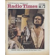 RT 2362 - February 13, 1969 (Feb 15-21) (London & South-East) OTHELLO (BBC 2) with cover photo of Richard Cassilly and Teresa Stratas.