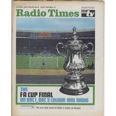 RT 2372 - April 24, 1969 (Apr 26-May 2) (Northern Ireland) FA CUP FINAL with cover photo of a football match - plus an illustration of the cup in the foreground.