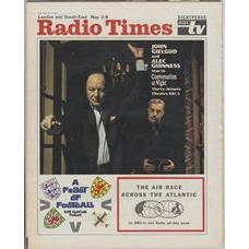 RT 2373 - May 1, 1969 (May 3-9) (London & South-East) Thirty-minute Theatre CONVERSATION AT NIGHT (BBC2) with cover photo of John Gielgud and Alec Guinness. / GRANDSTAND: INTERNATIONAL FOOTBALL / TRANSATLANTIC AIR RACE.