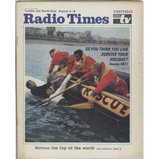 RT 2386 - July 31, 1969 (Aug 2-8) (South & West)  SO YOU THINK YOU CAN SURVIVE YOUR HOLIDAY? (BBC1) With cover photo of men and 'rescue' dinghy in the water.