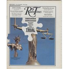 RT 2493 - 19 August 1971 (21-27 Aug) (West) TRIAL (BBC2) A man is murdered Another is accused  - with cover photo (by Penny Tweedie) of a jigsaw puzzle of the Statue of Justice, with a piece displaced