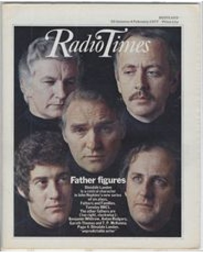 RT 2777 - 27 January 1977 (29 Jan-4 Feb) (London) FATHERS AND FAMILIES (BBC1) with photomontage of faces of Dinsdale Laden, Benjamin Whitrow, Anton Rogers, Gareth Thomas and TP McKenna.