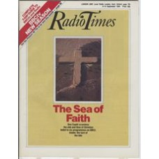 RT 3174 - 8-14 September 1984 (South West) THE SEA OF FAITH (BBC2) with cover (by Ric Gemmell) portraying the cross of Jesus - with cracks. Don Cupitt examines the ebb and flow of Christian belief in six programmes.