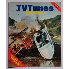 TVT 1974/27 - June 29-July 5, 1974 (London) SKIBOY Ice Hot - with cover photo of a stunt man crashing a boat through a shed for an advert.