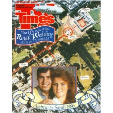 TVT 1986/30 - 19-25 July 1986 (Granada)  THE ROYAL WEDDING - Aerial photo of the procession route with inset photo of Prince Andrew and Sarah Ferguson.