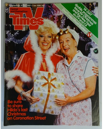 TVT 1987/Xmas - 19 December 1987 - 1 January (Central and C4) CHRISTMAS 1987 & NEW YEAR DOUBLE ISSUE - CORONATION STREET - with cover photo of Julie Goodyear and Jean Alexander.