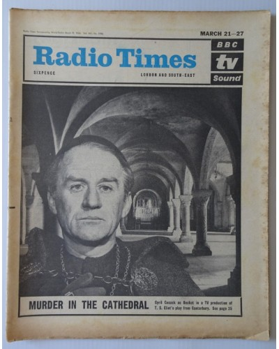 RT 2106 - March 19, 1964 (Mar 21-27) (London & South-East) [Incomplete] MURDER IN THE CATHEDRAL with cover photo of Cyril Cusack as Becket.