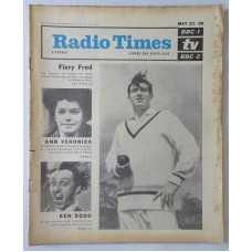 RT 2115 - May 21, 1964 (May 23-29) (London & South-East) FIERY FRED (BBC-1) with main cover photo of Freddie Trueman / ANN VERONICA (BBC-2) Rosemary Nicols / THE KEN DODD SHOW (Light) with photo.