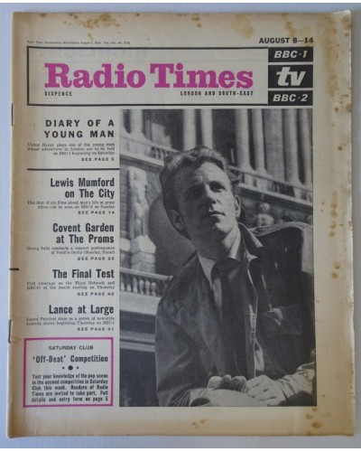 RT 2126 - Aug 6, 1964 (Aug 8-14) (London & South-East)  DIARY OF A YOUNG MAN (BBC-1) with cover photo of Victor Henry.